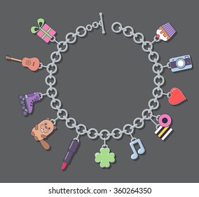 Vector illustration of a bracelet with charms