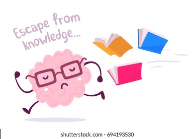 Vector illustration of a brain avoiding knowledge. Pink color lazy brain with glasses running away from color books flying behind on white background. Fun concept flat style design of character brain