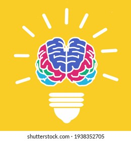 Vector illustration of brain bulb idea with yellow background