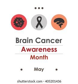 vector illustration / brain cancer awareness month