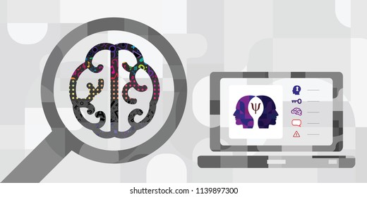 vector illustration of brain and digital diagnostics for computer psychotherapy and virtual reality healing