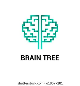 Vector illustration of a brain in the form of a tree. Creative concept label for business company. EPS10. Can be used for banner or printed products.