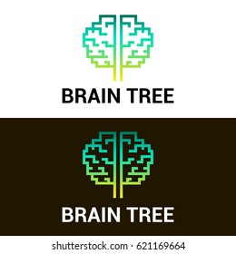 Vector illustration of a brain in the form of a tree on a white and black background. Creative concept label for business company. EPS10. Can be used for print for clothes.