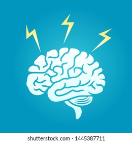 vector illustration of brain with lightings. describe open mind, thinking and brainstorming. business concept illustration