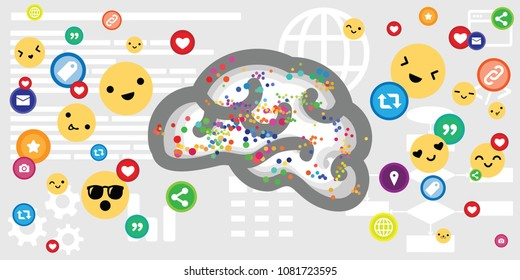vector illustration of brain and smiling emoticons and likes icons for social media influence concepts