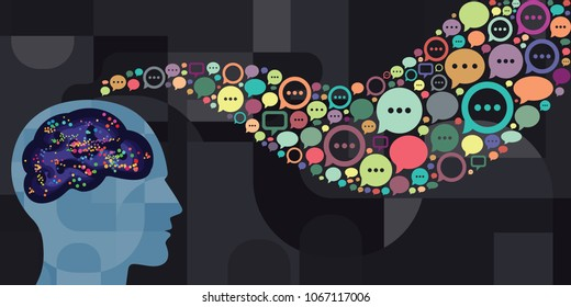 vector illustration of brain with supernatural mental connection for telepathy and neural control interface visuals
