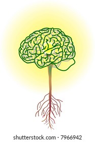 vector illustration for a brain tree, inside is a lightning bulbs, metaphors
