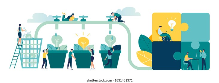 Vector illustration, brainstorming, business concept for teamwork, finding new solutions, generating and generating ideas, maturing new ideas in the form of a light bulb