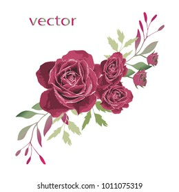 Vector illustration of branch with leaves and flowers. Botanical illustration. Arrangement of pink, purple roses , wild flowers and wild herbs.
