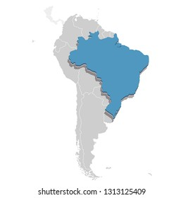 Vector illustration of Brazil in blue on the grey model of South America map