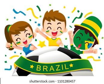Vector illustration of Brazil football fans characters celebrating