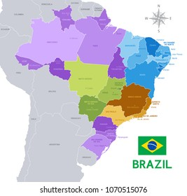 Vector Illustration of a Brazilian federation Administrative Map