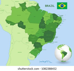 Vector Illustration of a Brazilian federation Administrative Map with 3d Globe of Earth centered on Brazil.