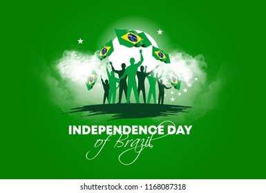 vector illustration. Brazilian national holiday Independence Day of Brazil is celebrated on 7 September. graphic design in symbolic colors business cards, invitations, gift cards, flyers and brochures