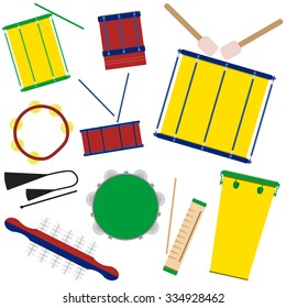 Vector illustration of brazilian samba batucada drums and percussion instruments. Brazilian carnival music instruments.