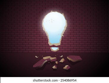 vector illustration , break the wall ,make the way out  using an idea , bulb hold on wall