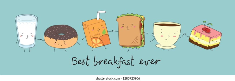 Vector illustration of breakfast best friends tea, cake, juice, sandwich, cupcake, coffee, donut and milk in comic cartoon style. Funny characters and hand drawn qoute Friend forever