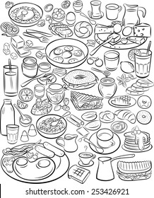Vector illustration of breakfast collection in line art mode