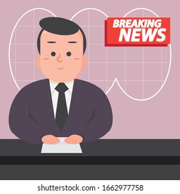 Vector illustration - Breaking news on tv broadcasting