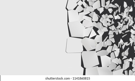 vector illustration of breaking wall with free area on left side. half wall cracked. suitable for banner, business card, ads or other way usages.