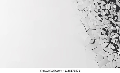 vector illustration of breaking wall with free area on left side. suitable for banner, business card, ads or other way usages.
