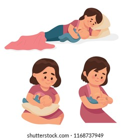vector illustration breastfeeding position for mother and baby, comfortable feeding poses for mother and newborn baby.