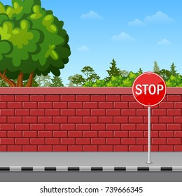 Vector illustration of Brick wall with stop sign on the pavement