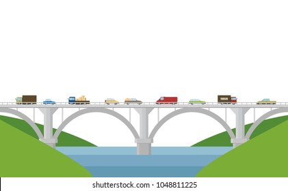 Vector illustration. Bridge with cars on a white background.