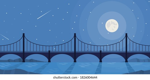 Vector and illustration of bridge cross river on nighttime with moon, star, meteor and clear sky in flat cartoon style