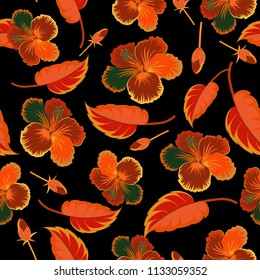 Vector illustration. Bright beautiful hibiscus flowers seamless background. Abstract cute floral print in black, orange and brown colors.