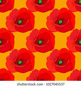 Vector illustration. Bright beautiful poppy flowers seamless background. Abstract cute floral print in yellow, gray and red colors.