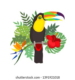 Vector illustration of a bright bird cartoon toucan on a tropical leaves and flowers. Colorful icon of tropical nature for zoo ad, nature reserve, to illustrate books about wildlife for children.
