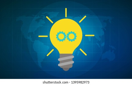 Vector illustration of bright bulb for a great ideation and creative thinking concept. World map in the background.