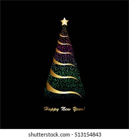 Vector illustration of Bright christmas tree with gold star on a black background.