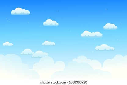 Vector illustration of bright cloudy sky background in minimal style.