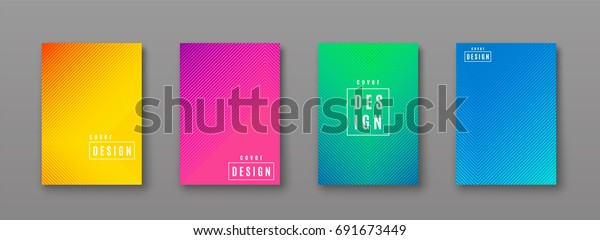 Vector illustration of bright color abstract pattern background with line gradient texture for minimal dynamic cover design. Blue, pink, yellow, green placard poster template