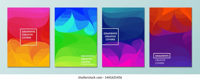 Vector illustration of bright color background with layered gradient texture for minimal dynamic cover design. Blue, pink, yellow, green placard poster template. EPS 10