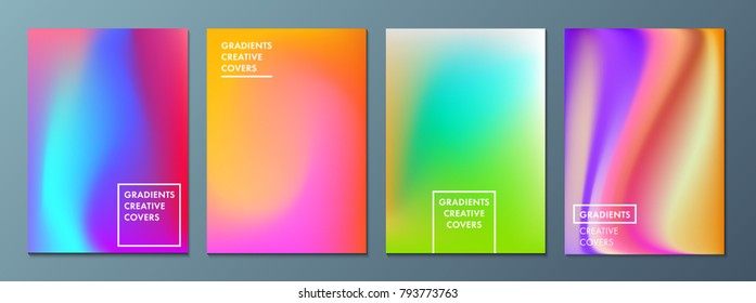 Vector illustration of bright color background with mesh gradient texture for minimal dynamic cover design. Blue, pink, yellow, green placard poster template. EPS 10