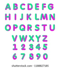Vector illustration of bright color pink and green soft flexible neon 3D font. Alphabet isolated on a white background.