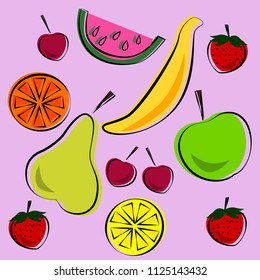 Vector illustration of bright color set of fruits. Vector ilustration.
