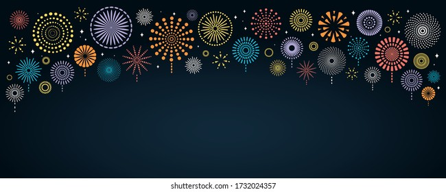 Vector illustration with bright colorful fireworks border on a dark blue background, space for text. Flat style design. Concept for holiday celebration, greeting card, poster, banner, flyer.