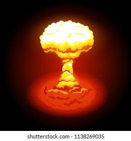 Vector illustration of bright nuclear explosion. Symbol of environmental protection and the dangers of nuclear energy. Nuclear explosions produce radiation and radioactive debris.