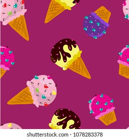 Vector illustration of bright pattern of yellow, pink and violet ice creams on purple background. Hand drawn art design for web, site, advertising, banner, poster, board and print, textile, fabric.
