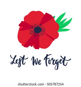Remembrance day poppy images stock photos vectors shutterstock vector illustration of a bright poppy flower remembrance day symbol lest we forget lettering mightylinksfo