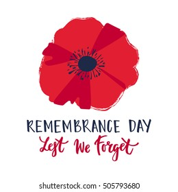 Vector illustration of a bright poppy flower. Remembrance day symbol. Remembrance day lettering. Lest we forget text.