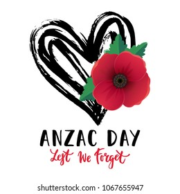 Vector illustration of a bright poppy flowers and hand drawn heart. Remembrance day symbol. Lest we forget lettering. Anzac day banner design with space for text.