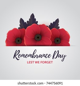 Vector illustration of a bright poppy flowers with leaves. Remembrance day symbol to 11 november. Lest we forget message.