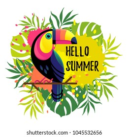 Vector illustration of a bright tropical bird Toucan on a floral background with ink drops. Hello Summer text.