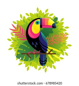 Vector illustration of a bright tropical bird Toucan on a floral background. Colorful icon of tropical nature.