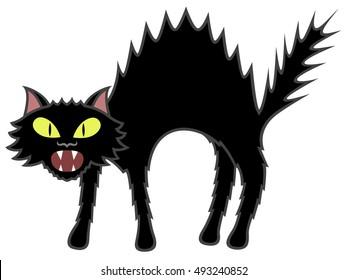 Vector illustration of a bristling cartoon black cat.